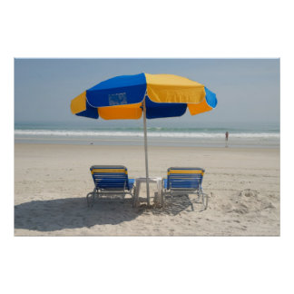 empty beach chairs poster