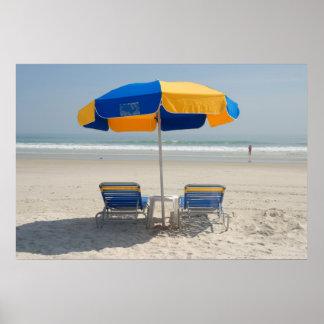 empty beach chairs print
