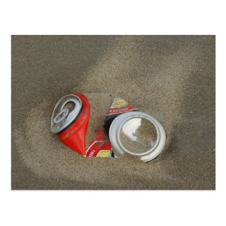 Empty Beer Can in Sand Postcard