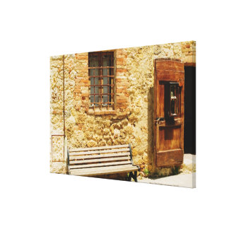 Empty bench in front of a wall, Monteriggioni, Canvas Print