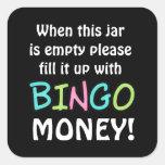Empty bingo jar bear money sticker