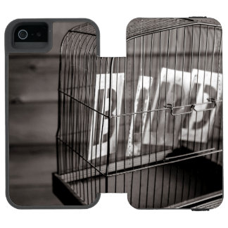 Empty bird cage wallet case for iPhone SE/5/5s