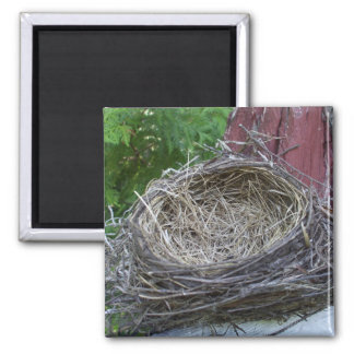 Empty Bird's Nest 2 Inch Square Magnet
