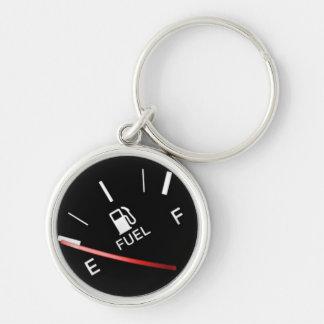 Empty Black Fuel Gas Gauge Silver-Colored Round Keychain