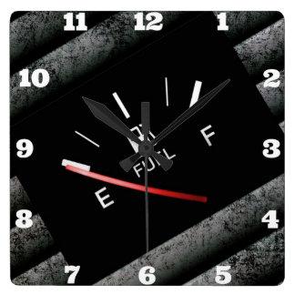 Empty Black Fuel Gas Gauge Square Wall Clock