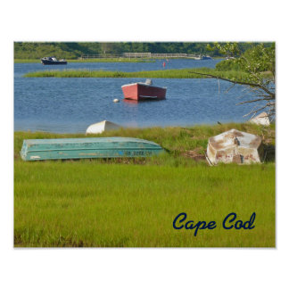 Empty Boats Picturesque Cape Cod Inlet and Marsh Poster