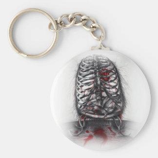 Empty Cage Anatomy Horror Art Button Keychain