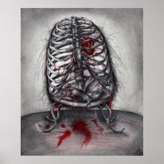 Empty Cage Anatomy Horror Original Art Poster