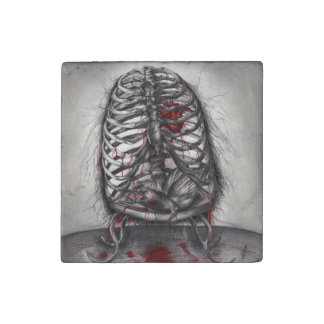 Empty Cage Human Ribs Anatomical Horror Art Stone Magnet
