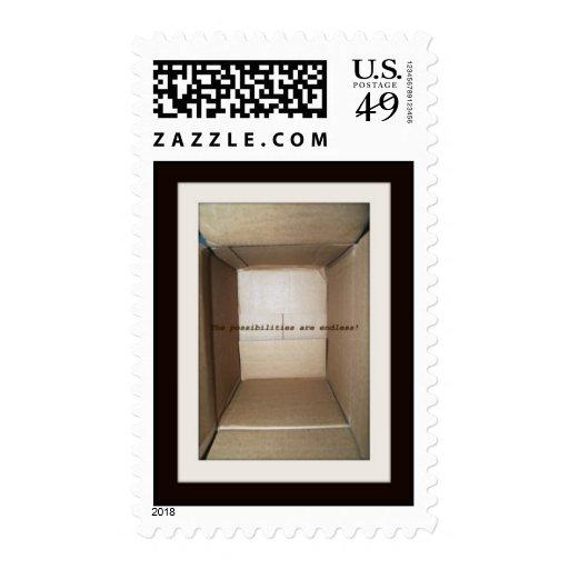 empty cardboard box postage stamps
