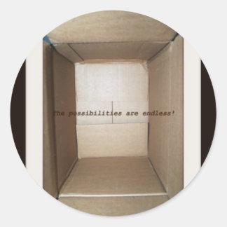 empty cardboard box round sticker