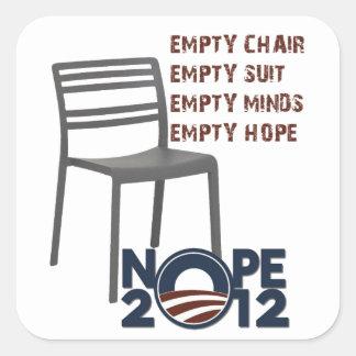 Empty Chair, Empty Obama Square Sticker