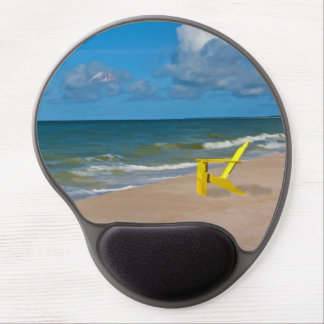 Empty Chair on Coast Beach Gel Mouse Pad