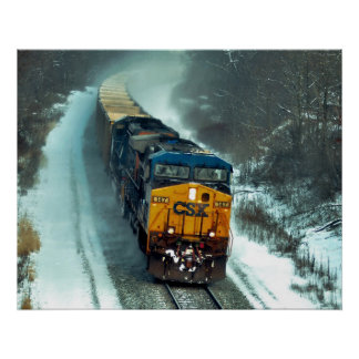 Empty Coal Train in Snow Poster