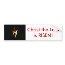 Empty Cross, Christ the Lord is RISEN! Bumper Sticker