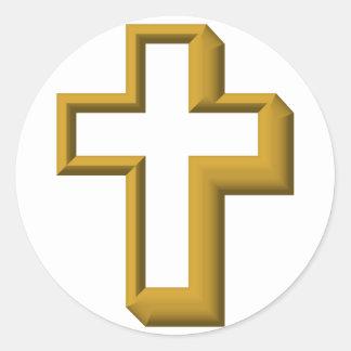 Empty cross classic round sticker
