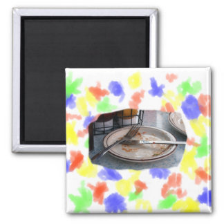 Empty Eaten Plate Fork Knife Food Foodie Design 2 Inch Square Magnet