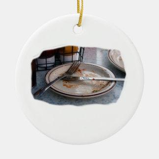 Empty Eaten Plate Fork Knife Food Foodie Design Ceramic Ornament