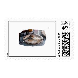 Empty Eaten Plate Fork Knife Food Foodie Design Stamp