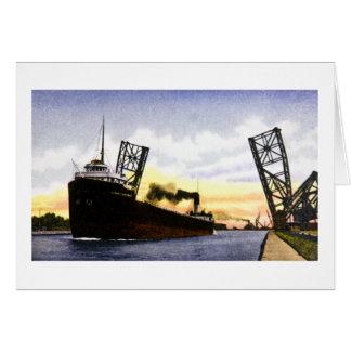 Empty Freighter Passing Bascule Bridge, Soo Locks Greeting Card