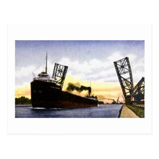 Empty Freighter Passing Bascule Bridge, Soo Locks Postcard