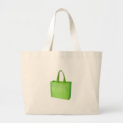 Empty green reusable grocery bag