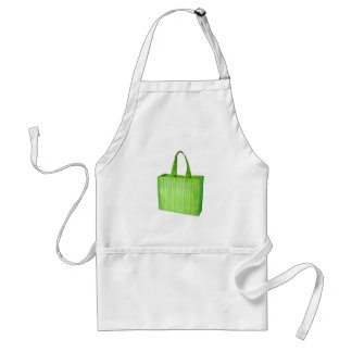 Empty green reusable grocery bag adult apron