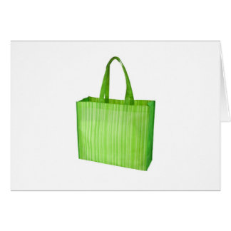 Empty green reusable grocery bag card