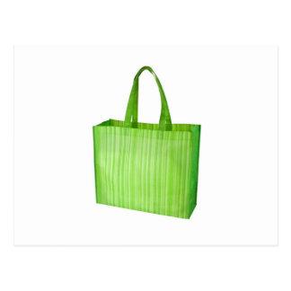 Empty green reusable grocery bag postcard