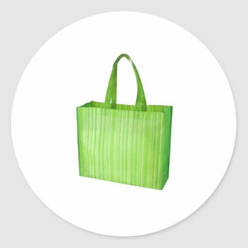 Empty green reusable grocery bag round stickers