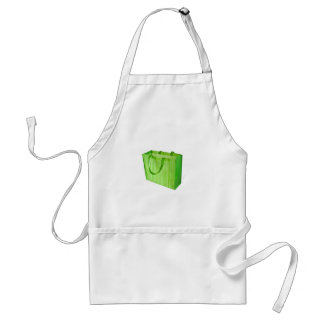 Empty green reusable shopping bag adult apron