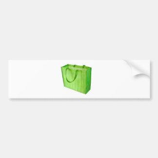 Empty green reusable shopping bag car bumper sticker