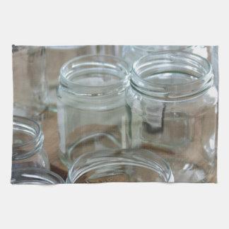 empty jars kitchen towels