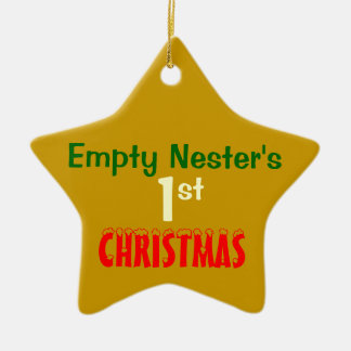 Empty Nest 1st Christmas Gold Star 2 Double-Sided Star Ceramic Christmas Ornament