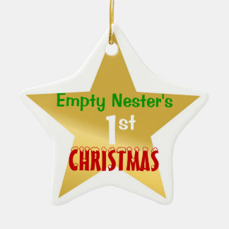 Empty Nest 1st Christmas Gold Star Double-Sided Star Ceramic Christmas Ornament