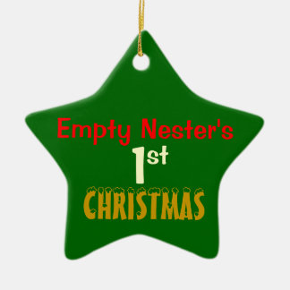 Empty Nest 1st Christmas Green Star Double-Sided Star Ceramic Christmas Ornament