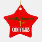 Empty Nest 1st Christmas Red Star Ceramic Ornament