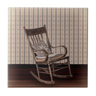 Empty Old Vintage  Rocking Chair Ceramic Tile