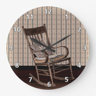 Empty Old Vintage  Rocking Chair Large Clock