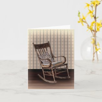 Empty Old Vintage Rocking Chair Note Card