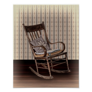 Empty Old Vintage Rocking Chair Poster