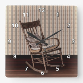 Empty Old Vintage  Rocking Chair Square Wall Clock