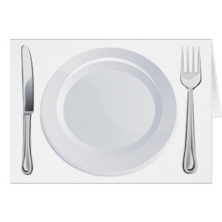 Empty plate and knife and fork cutlery greeting card