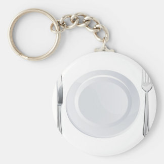 Empty plate and knife and fork cutlery keychain