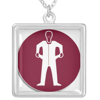 Empty Pockets on Red Square Pendant Necklace