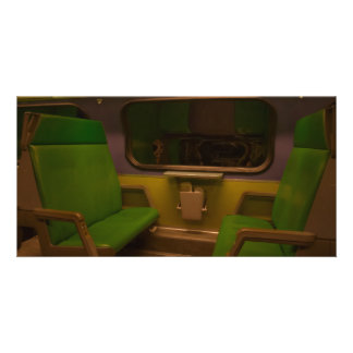 Empty Seats on Night Train - green yellow photo Card