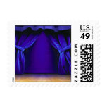 Empty Stage With Curtains Postage Stamp