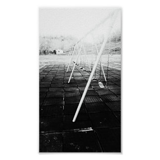 Empty Swings Black and White Poster