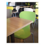 Empty tables and chairs in cafes without visitors letterhead
