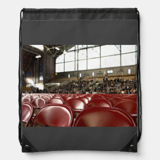 Empty Themed, Front Rows Of Empty Red Seats Prepar Drawstring Bag